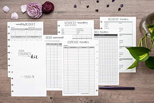 Home Finance Kit for Junior Size Disc-Bound Planners, Fits 8-Disc Circa Jr. Notebook, Arc Junior, TUL, Half Letter 5.5''x8.5'' (Notebook Not Included) by Natalie Rebecca Design