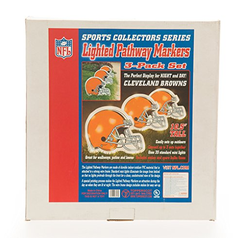 NFL Officially Licensed Lighted Pathway Markers Set - Cleveland Browns (Set of 3 Path Markers) (Lighting Cleveland Browns)