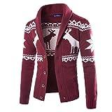 kaifongfu Mens Cardigan, Winter Christmas Sweater Xmas Knitwear Coat Jacket Sweatshirt (Wine Red, L)