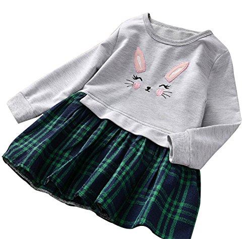 - Cute Toddler Girl Bunny Plaid Dress, Kids Sweet Shirt Top and Checkered Skirt Patchwork Dress(GreyGreen,100)