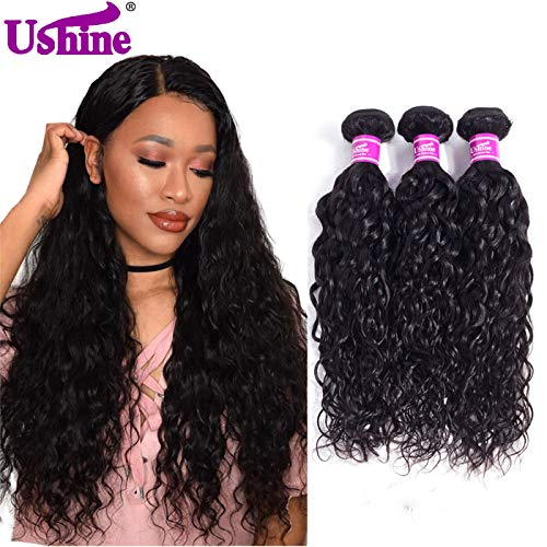 Ushine Water Wave Human Hair Bundles Unprocessed Brazilian Hair Wet And Wavy Bundle Deals Virgin Weave Hair Human Bundles (14 16 18,natural color)