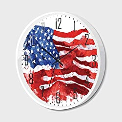 Wall Clock Silent Non-Ticking Decorative Round Quartz,American,Flag of America Watercolor Splash National Independence Symbol Abstract Art,for Office,Bedroom,14inch