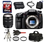 Sony SLT-A77 w/Sony 18-200mm Lens + Camera Case + Spare Sony Battery + 64GB SDHC Kit, Best Gadgets