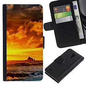 Protector de cuero de la PU de la cubierta del estilo de la carpeta del tirón BY RAYDREAMMM - Samsung Galaxy S4 IV I9500 - Sunset Rocks