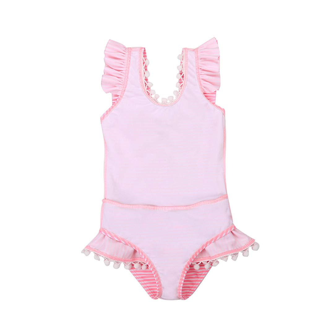 Little Girls Fashion One Piece Swimsuits Hairball Bowknot Bathing Suit Beach Swimwear 18M-6Y