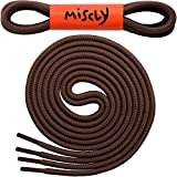 "Miscly Round Shoelaces [3 Pairs] 5/32"" Thick - For Shoes, Sneakers & Boots - by 45"" (114 cm), Brown"