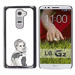 Gris Blanco Diseño de Moda Estilo Arte- Metal de aluminio y de plástico duro Caja del teléfono - Negro - LG G2