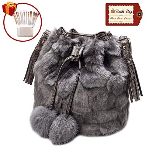 Heidi Women Faux Fur Winter Fashion Shoulder Bag Barrel Shape Drawstring Satchel Purse with Makeup Brush Set Grey - Rabbit Fur Purse Handbag