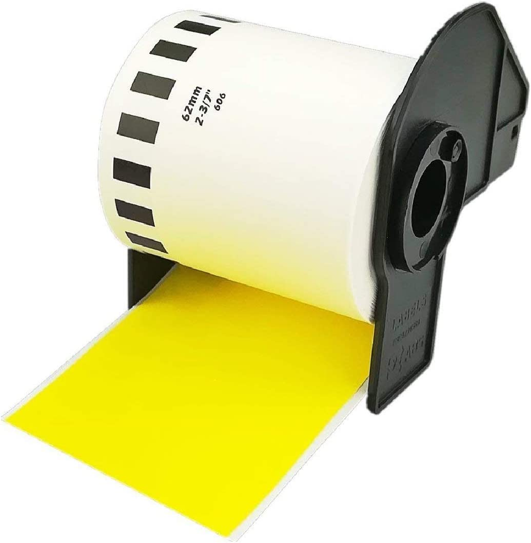 Brother DK-2606 Continuous Length Film Yellow Label Roll 2.4 in x 50 ft 62 mm x 15.2 m Compatible,1 Rolls
