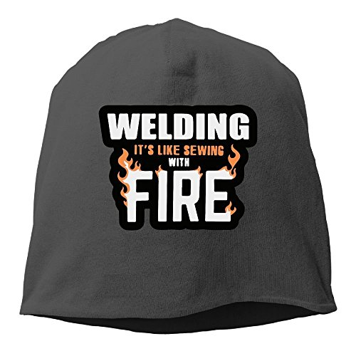 Unisex Fit Knitted Hat, Welding It's Like Sewing with Fire Ski Cap for Mens & Womens