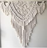 Knitting India Macrame Wall Decor Hanging - Bohemian Home Geometric Art Decor - Beautiful Apartment Dorm Room Decoration-Macrame Curtain-Macrame Wedding Backdrop, W 25 x L 38 Inch