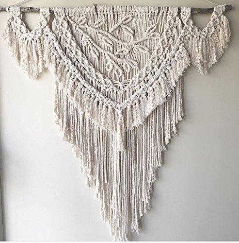Knitting India Macrame Wall Decor Hanging - Bohemian Home Geometric Art Decor - Beautiful Apartment Dorm Room Decoration-Macrame Curtain-Macrame Wedding Backdrop, W 25 x L 38 Inch