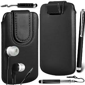 N4U Online Premium PU tirón del cuero del tirón Tab bolsa de la cubierta del caso con el magnética Cierre de correa, Auricular Auriculares y 3 Pack Bundle Stylus para Samsung Galaxy joven S6310 - Negro