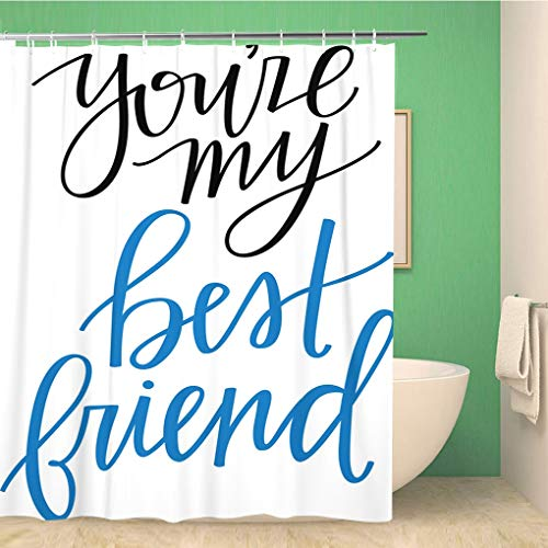 Awowee Bathroom Shower Curtain Forever You Re My Best Friend Wife Calligrpahy Hand Polyester Fabric 66x72 inches Waterproof Bath Curtain Set with Hooks