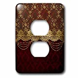 3D Rose lsp_255627_6 Gold Floral Luxury Lace with Chain on Dark Red Damask Background 2 Plug Outlet Cover