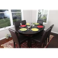 Brown Leather 7pc Oval Solid Top Dining Table Contemporary Cappuccino Finish Solid Wood Dining Table Chairs Set Oval