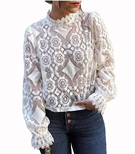 Women's Mock Neck Long Sleeve Floral Mesh Lace Sheer Crochet Blouse Top T-Shirt (White, Small) ()