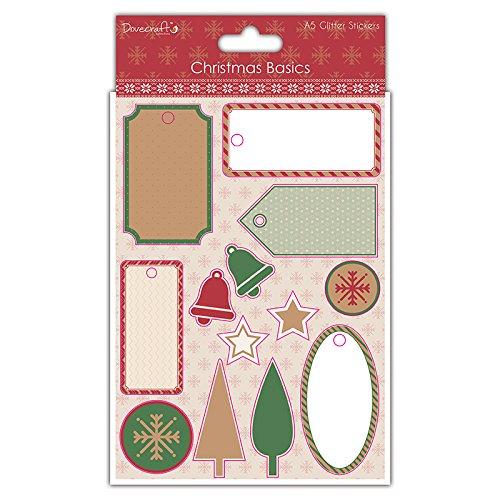 Dovecraft Christmas Basics –  A5 effetto glitter scrapbook stickers Sheet Trimcraft