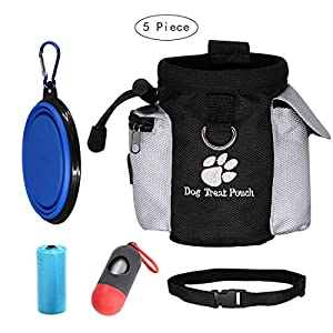 Dog Snack Bag Training Bag with Adjustable Waist Belt, Collapsible Bowl and Built-in Poop Bag Dispenser,Easily Carries Pet Toys, Kibble, Treats,Keys etc. Easily Access to Rewards 47
