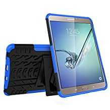 Galaxy Tab S2 8.0 Case, MCUK Heavy Duty Rugged Dual Layer - Soft/Hard Shell 2 in 1 Tough Protective Cover Case with Kickstand for Samsung Galaxy Tab S2 Tablet (8.0 inch, SM-T710 T715 T713) (Blue)