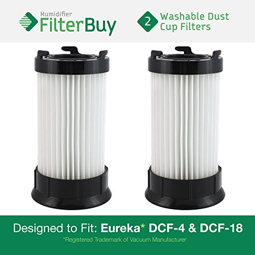 2 - Eureka DCF-4 (DCF4) DCF-18 (DCF18) & GE DCF-1 (DCF1) Washable and Reusable Dust Cup Filters. Designed by FilterBuy to Replace Eureka Part # 62132. -