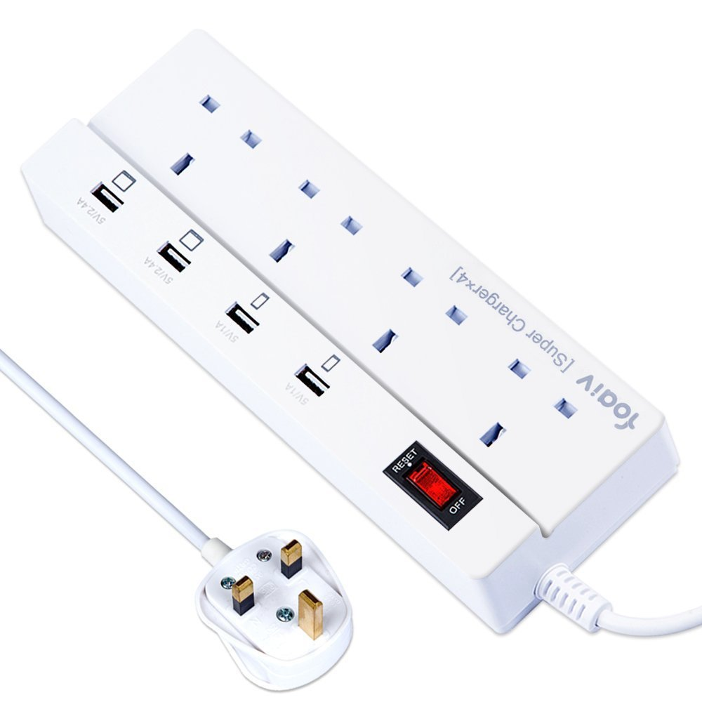Foaiv Extension Lead with USB Charing Ports 5.9ft Power Cord (White 4 Plug 4 USB)