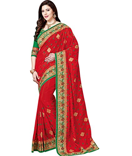 Indian Ethnicwear Wedding Crepe Silk Red Coloured Fancy Saree by Maahir Garments