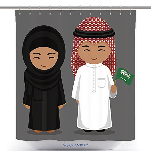 National Costume Of Usa Female (Durable Shower Curtains Travel To Saudi Arabia People In National Dress With A Flag Man And Woman In Traditional Costume 494297059 Polyester Bathroom Shower Curtain Set With Hooks)