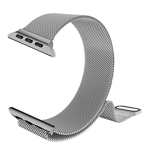 38mm Apple Watch Band, iXCC iWatch Series 1 / 2 Milanese Stainless Steel Bracelet Strap Mesh Loop Replacement with Magnetic Closure Clasp - Silver