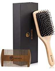 Hair Brush-Boar Bristle Hairbrush for Women Men Long Thick Fine Curly Wavy Dry or Wet Hair,Best Brush Set for Reducing Hair Breakage and Frizzy-Wooden Comb&Giftbox Inclued