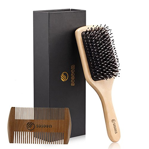 Paddle Hair Brush - Hair Brush-Boar Bristle Hairbrush for Women Men Long Thick Fine Curly Wavy Dry or Wet Hair,Best Brush Set for Reducing Hair Breakage and Frizzy-Wooden Comb&Giftbox Inclued