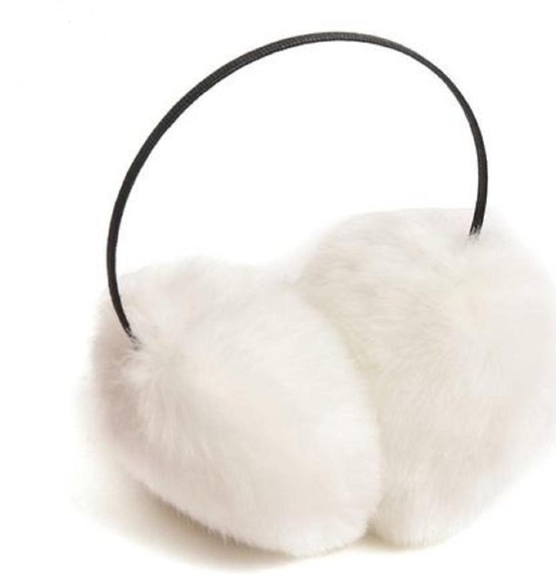 WenMei Women's Winter Fashion Soft Fluffy Fuzzy Ski Earmuff Ear Warmer Earlap Muffs Headband (White)