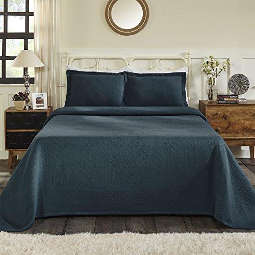 Blue Nile Mills 100% Cotton Basket Matelasse King Bedspread, Deep Sea from Blue Nile Mills