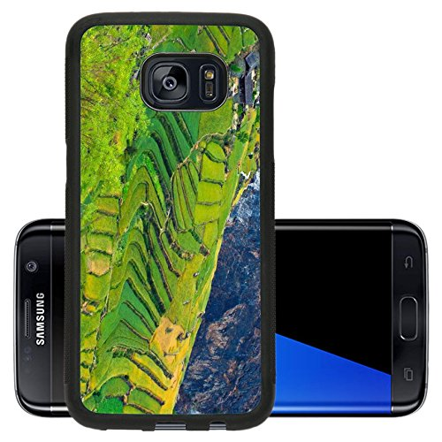 Luxlady Premium Samsung Galaxy S7 Edge Aluminum Backplate Bumper Snap Case IMAGE ID: 40892124 The step of rice field in - Mobile Hills Chino T