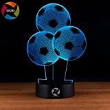 3D Optical Illusion Night Light - 7 LED Color Changing Lamp - Cool Soft Light Safe For Kids - Solution For Nightmares - 3 Soccer Balloons