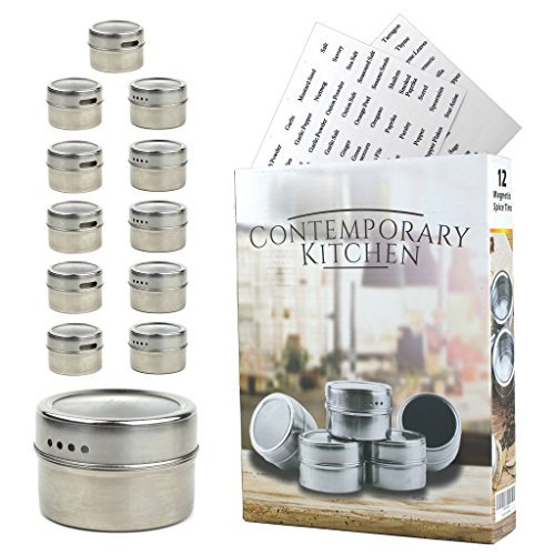 Magnetic Spice Tins | Set of 12 With 100 Labels Included | R