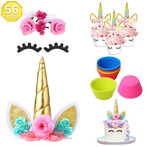56 pcs Unicorn Cake Topper,Unicorn Cupcake Toppers and Wrappers | Birthday Party Supplies with Reusable Cupcake Backing Liners, Eyelashes and Flowers Set for Kids Party Decoration