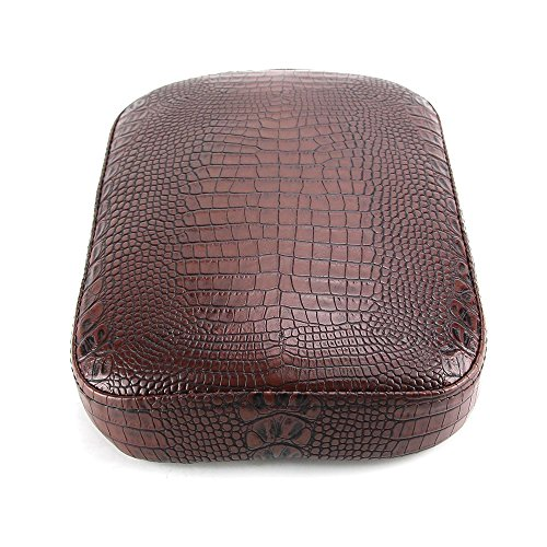 Oumurs Alligator Synthetic Leather Suction Cup Passenger Pillion Pad Seat Rectangle Cushion Pad for Harley Sporster XL 883 1200 Chopper Bobber Dyna Touring (8 Suction Cup Brown) by Oumurs (Image #4)