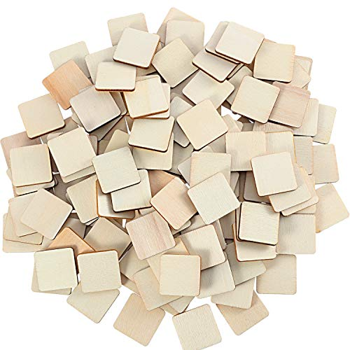 Unfinished Wood Pieces Blank Wood Squares Round Corner Wooden Cutouts for DIY Supplies, Craft, Decoration, Laser Engraving Carving (1 x 1 Inch, 200 Pieces)
