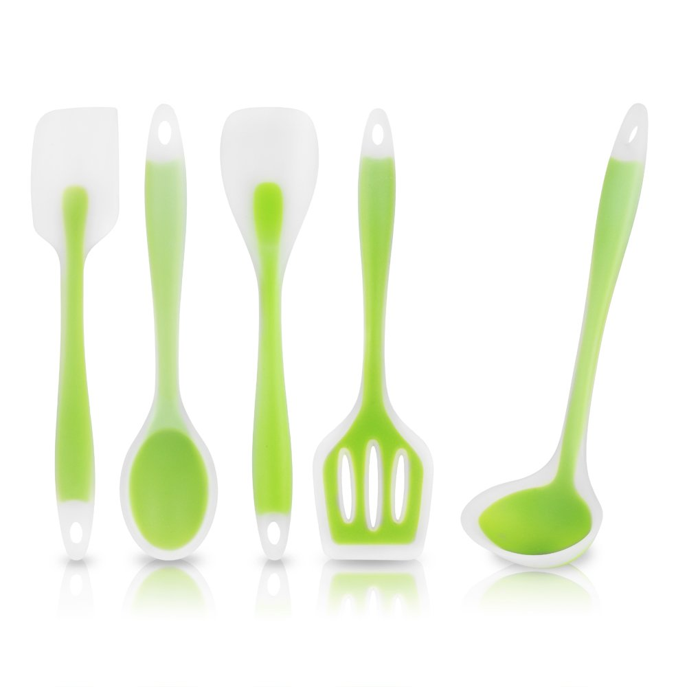 Green silicone kitchen utensils sets for Kitchen set utensils