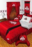 Ohio State Buckeyes FULL Size 14 Pc Bedding Set (Comforter, Sheet Set, 2 Pillow Cases, 2 Shams, Bedskirt, Valance/Drape Set & Matching Wall Hanging) - SAVE BIG ON BUNDLING!