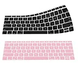 "MoKo Macbook Pro 13 / Macbook 12 Keyboard Cover, [2-PACK] Soft Silicone Keyboard Skin Protector for Newest MacBook 12"" A1534 /Macbook Pro 13"" A1708 (No Touch Bar, Released 2016), Black & Rose Quartz"