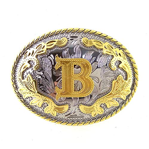 Western Belt Buckle Initial Letters ABCDEFG to Y-Cowboy Rodeo Gold Large Belt Buckle for Men and Women (B)