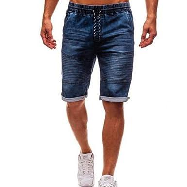 JURTEE Pantalones Cortos Hombre Vaqueros Moda Casuales Elásticos Tallas Grandes Pantalones Cortos con Bolsillos