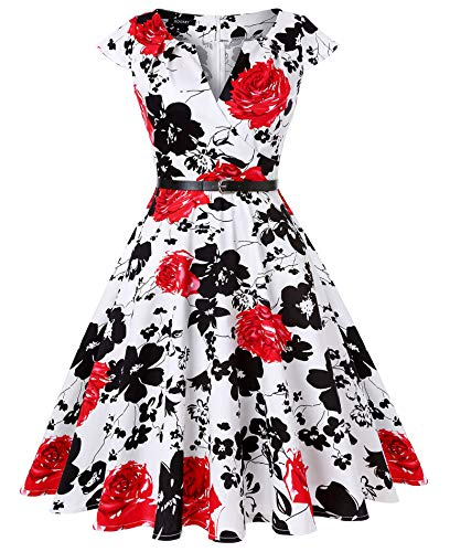 ROOSEY Women's 1950s V-Neck Vintage Rockabilly Swing Evening Party -