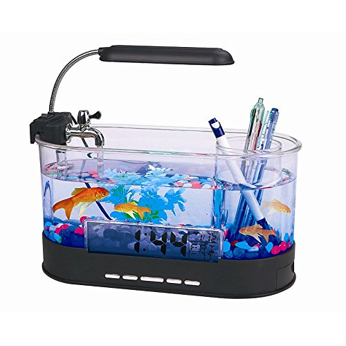 Modern Home Usb Desktop Aquarium With Light Clock Organizer