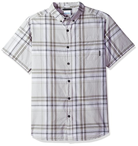 Columbia Men's Rapid Rivers II Short Sleeve Shirt, Grey Large Plaid, Large (Plaid Pocket Shirt Sport)