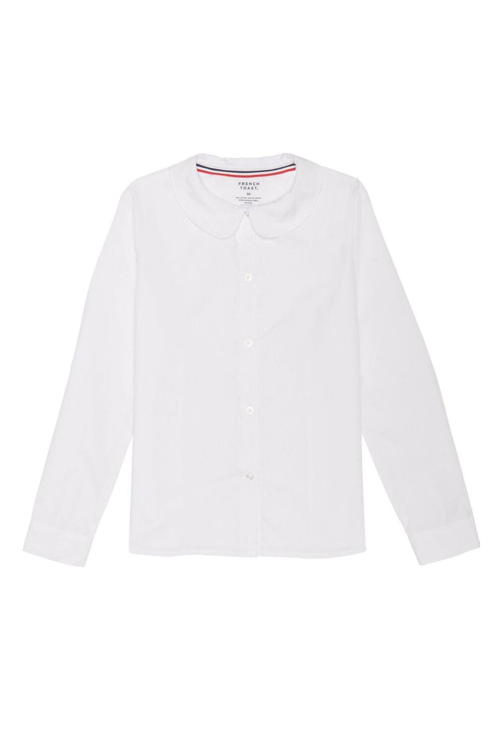 French Toast Girls' Big Long Sleeve Modern Peter Pan Collar Blouse, White, 8