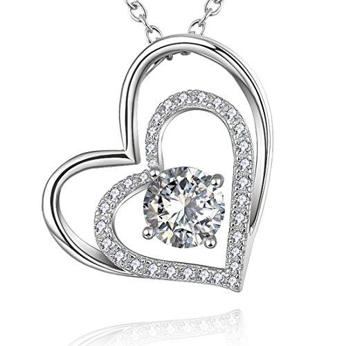 White Gold Plated 925 Sterling Silver Double Heart-Shaped Necklace Pendant with Diamond (Medallion Locket)