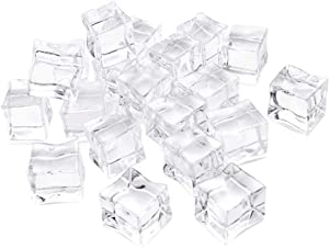 HUIANER 20 PCS Acrylic Ice Cubes Square Shape, Glass Luster Ice Cubes, Fake Artificial Acrylic Ice Cubes Crystal Clear for Photography Props Kitchen Toy Decoration 1inch/2.5cm